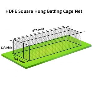HDPE Baseball Batting Cage Nets 55ft x 14ft x 12ft