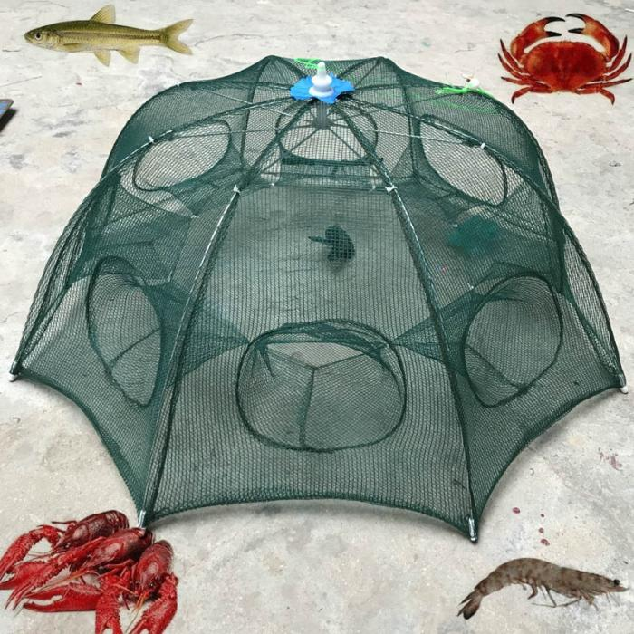 6 Holes Foldable Fishing Mesh Nylon Crab Shrimp Net